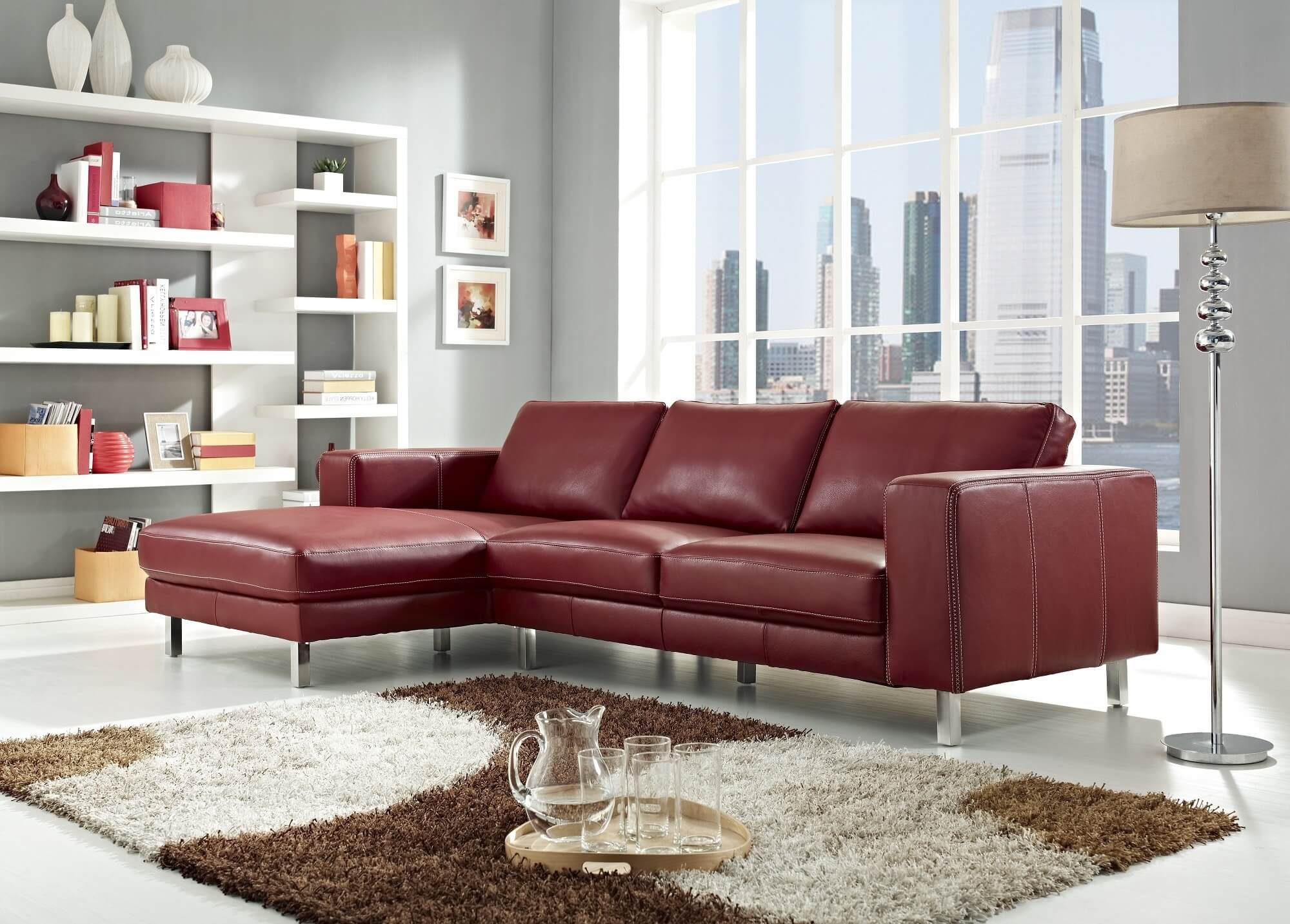 This Elegant Red Leather Sofa Is Made With A Solid Wood Frame, Chromed  Stainless Steel .