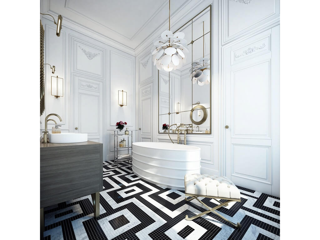 Bathroom designs black and white tiles - Bold Lines And High Contrast Inform This White Bathroom Faded Gold Metals Sprinkle Throughout The