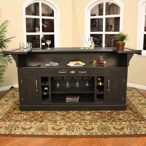 Elegant This Dark Brown Home Bar Cabinet Is Larger Than Most Assembly Style Units.  Built With .