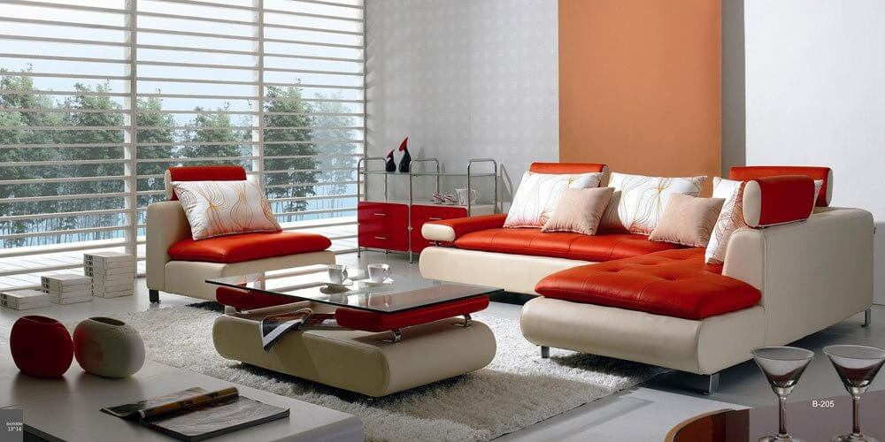 This red and white modern sectional sofa set offers a striking furniture  option that will be