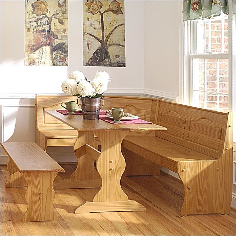 21 space saving corner breakfast nook furniture sets booths for Kitchen table sets with bench