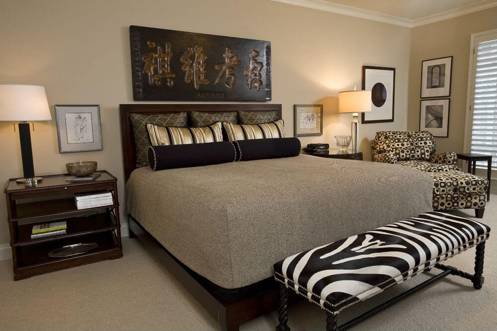 This is an interesting example because the room is in earth tones  predominately with the zebra