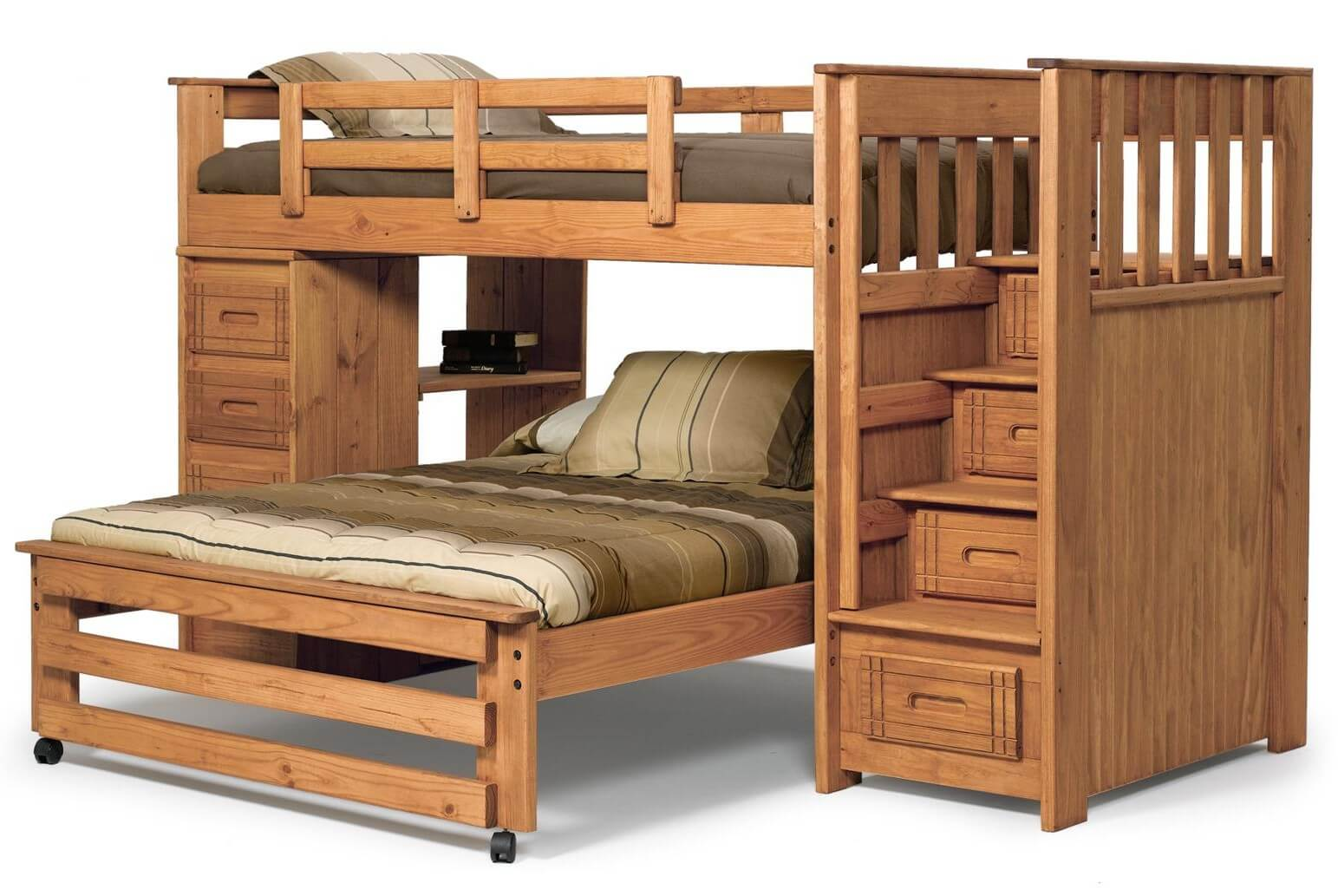 ... bunk. The lower full bed is on wheels. The side opposite to the stairs
