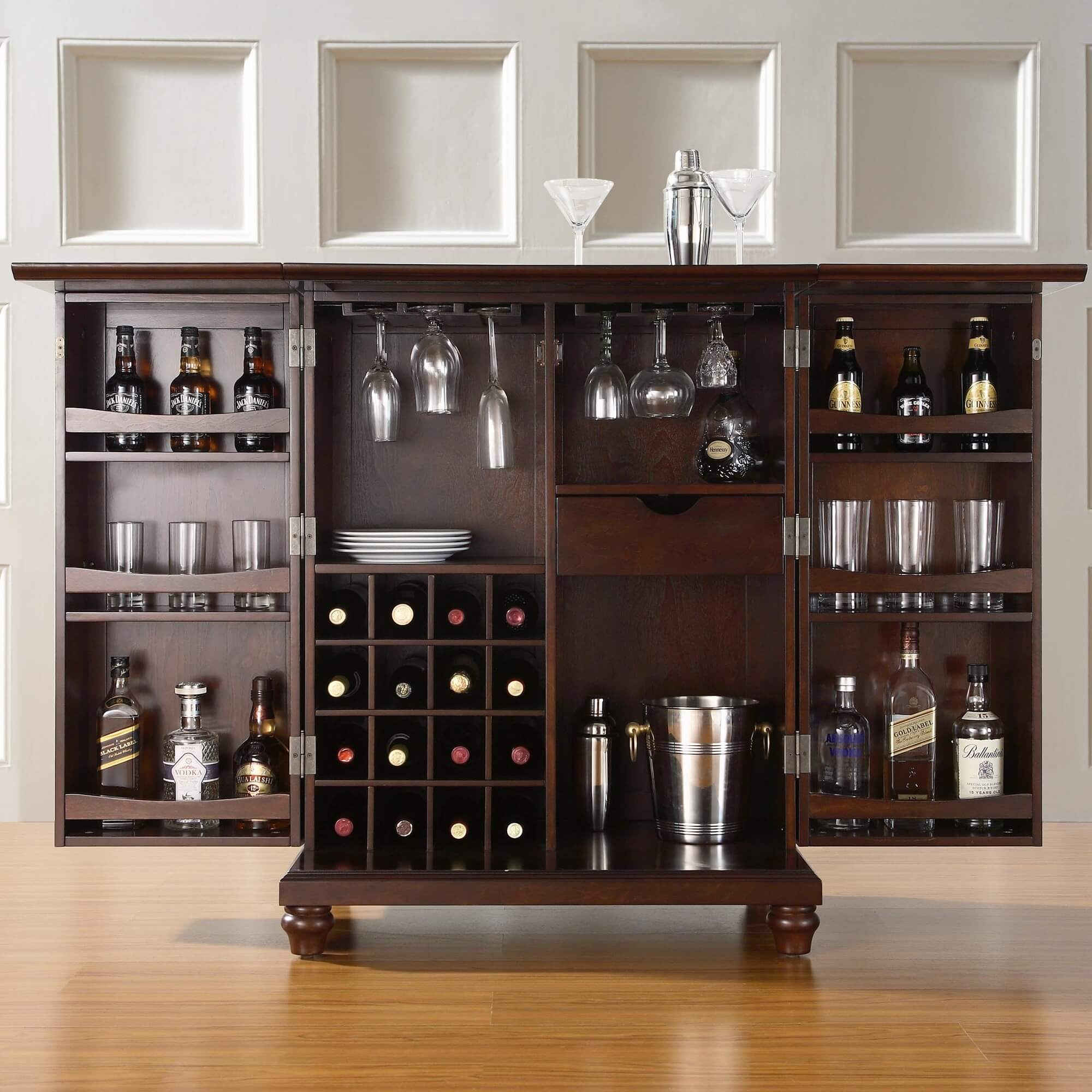 Rear storage view of elegant compact home bar cabinet set. 30 Top Home Bar Cabinets  Sets   Wine Bars  ELEGANT   FUN