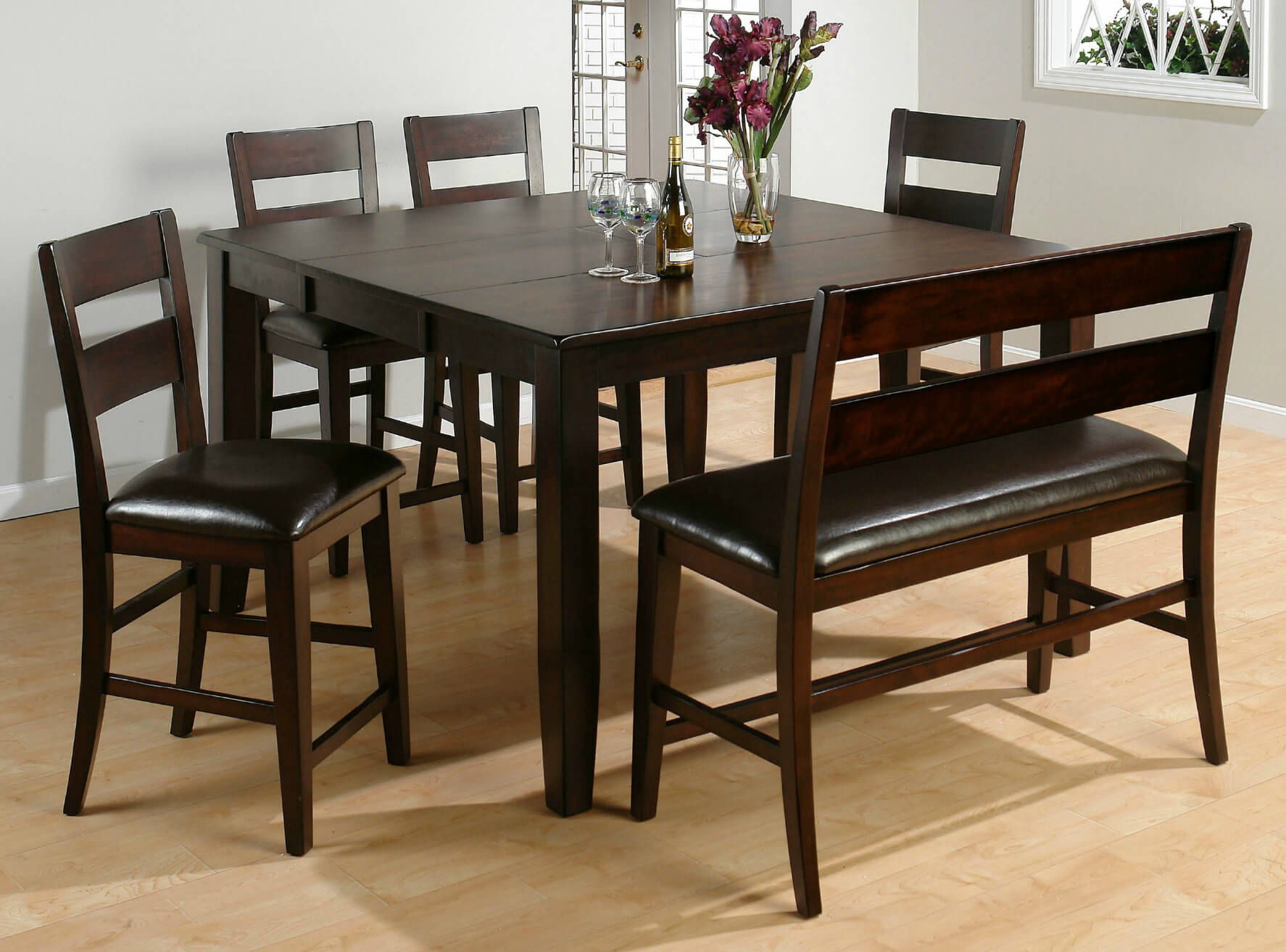Dining room table bench set