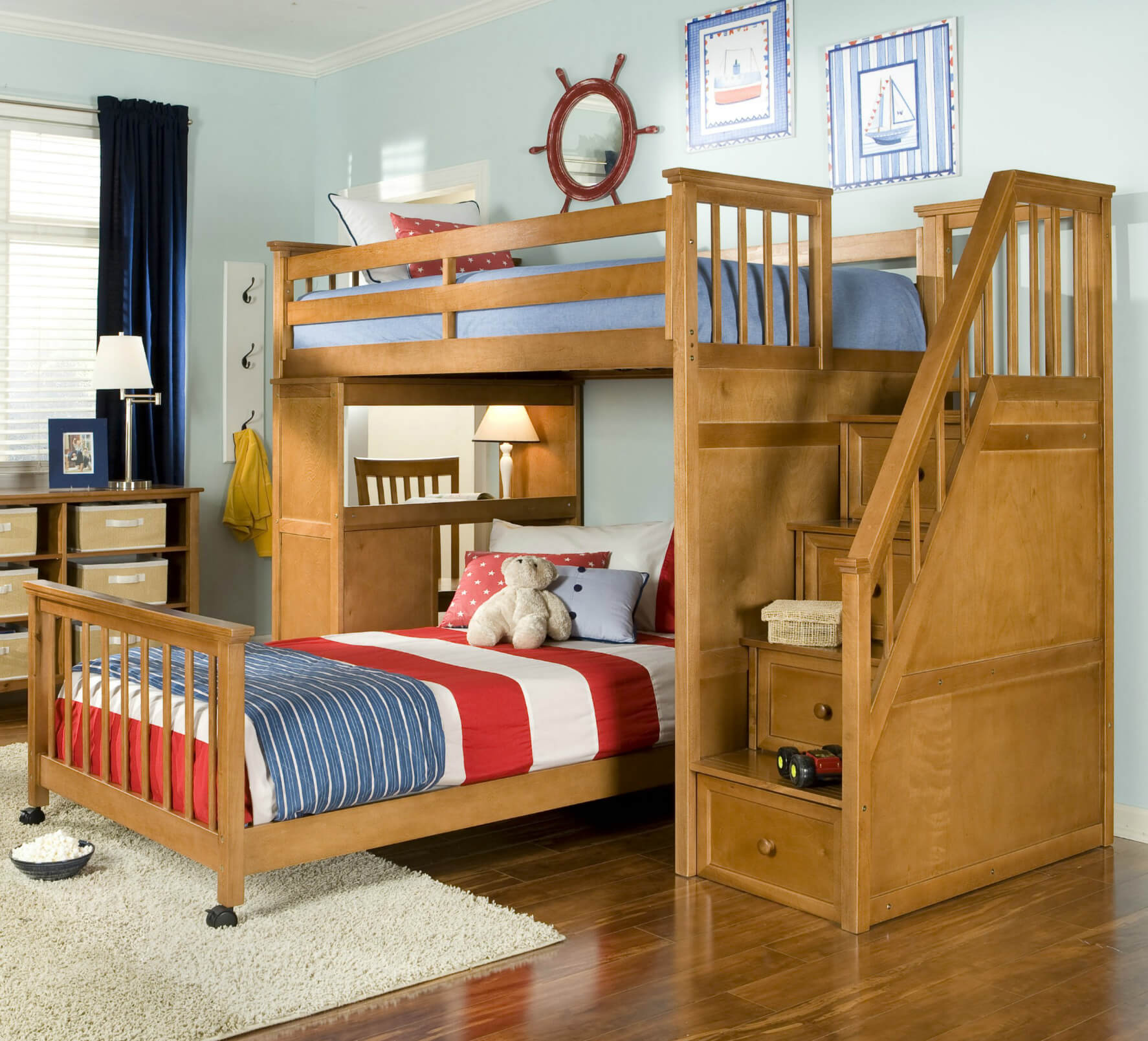 top wooden lshaped bunk beds (with spacesaving features) - pecan hardwood lshaped bed includes a staircase and desk lower bed (can