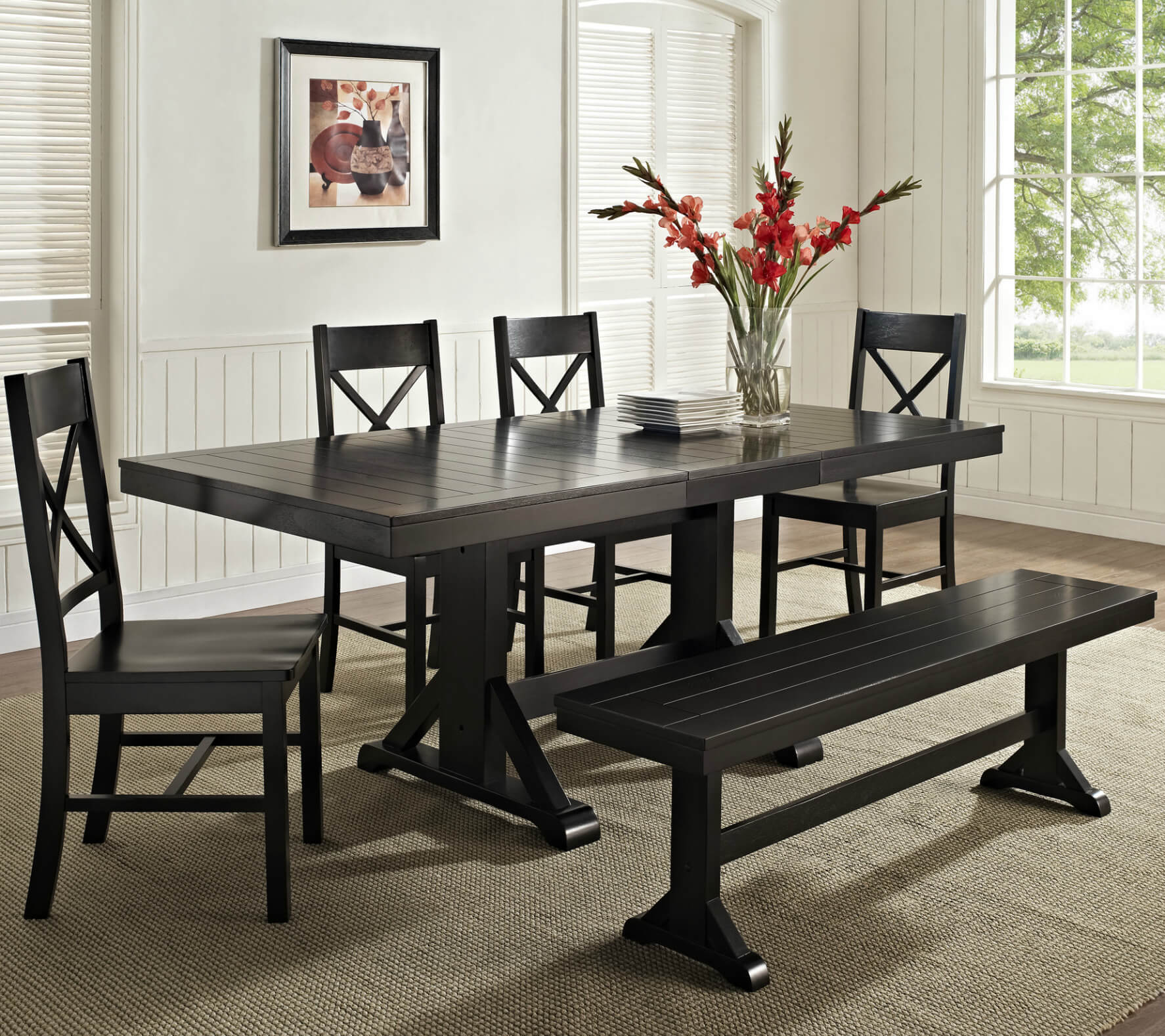 26 big small dining room sets with bench seating. Black Bedroom Furniture Sets. Home Design Ideas