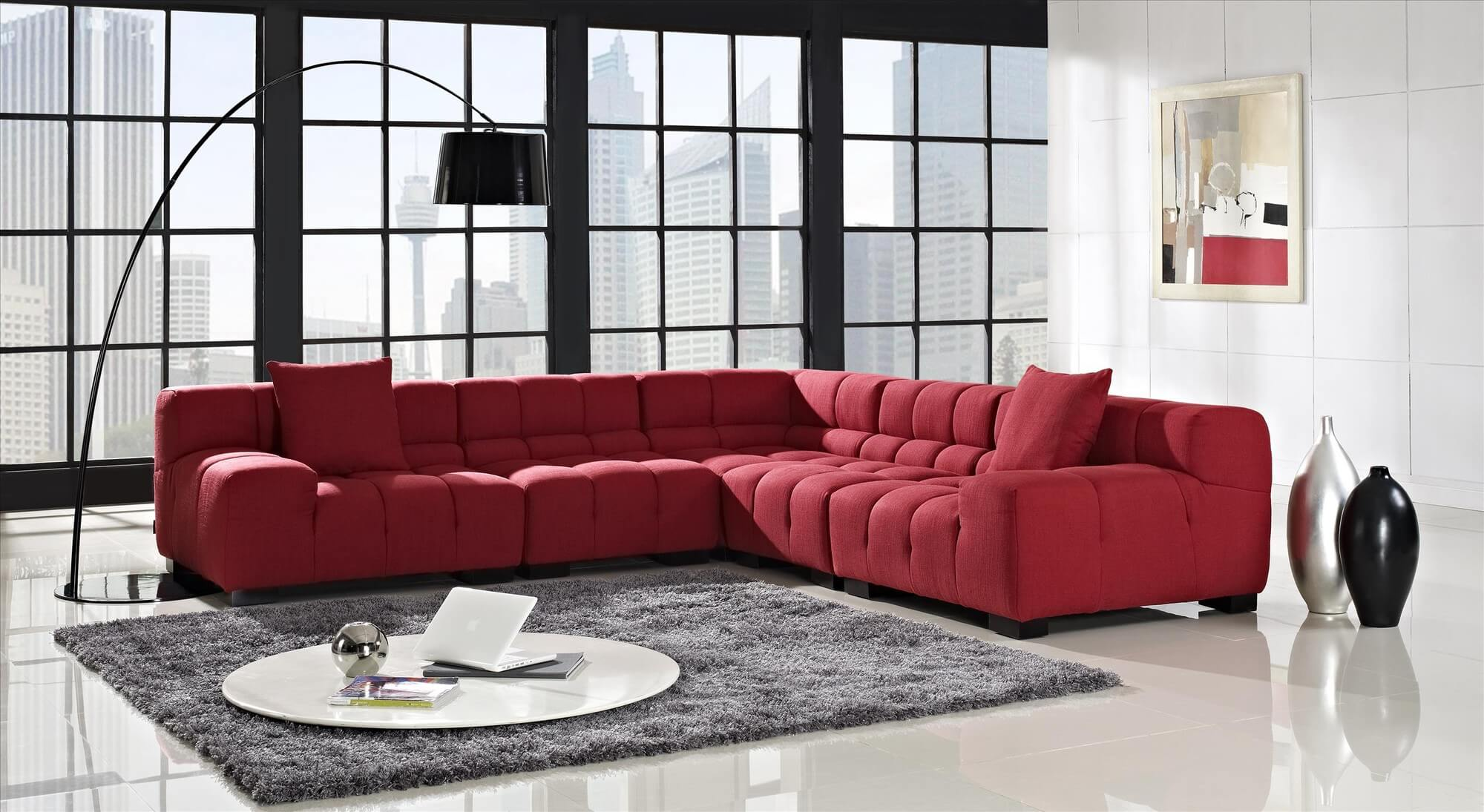 18 stylish modern red sectional sofas for Modern red fabric sectional sofa