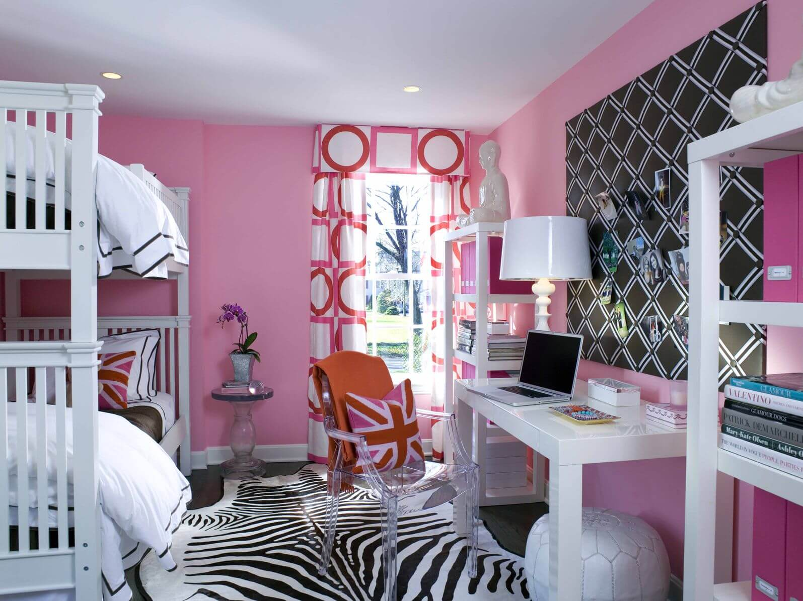 Here's an example of a kid's room incorporating zebra print with a rug.  It's playful