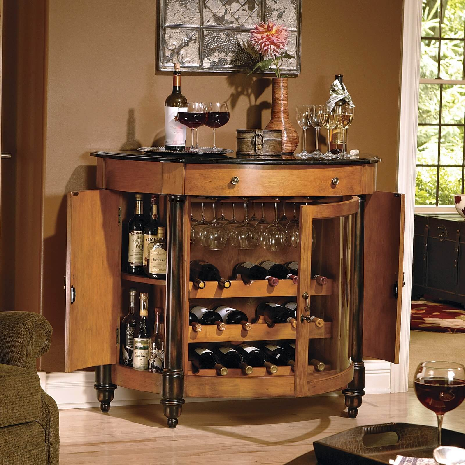 heres a home bar for wine lovers with its 18 bottle wine. beautiful ideas. Home Design Ideas