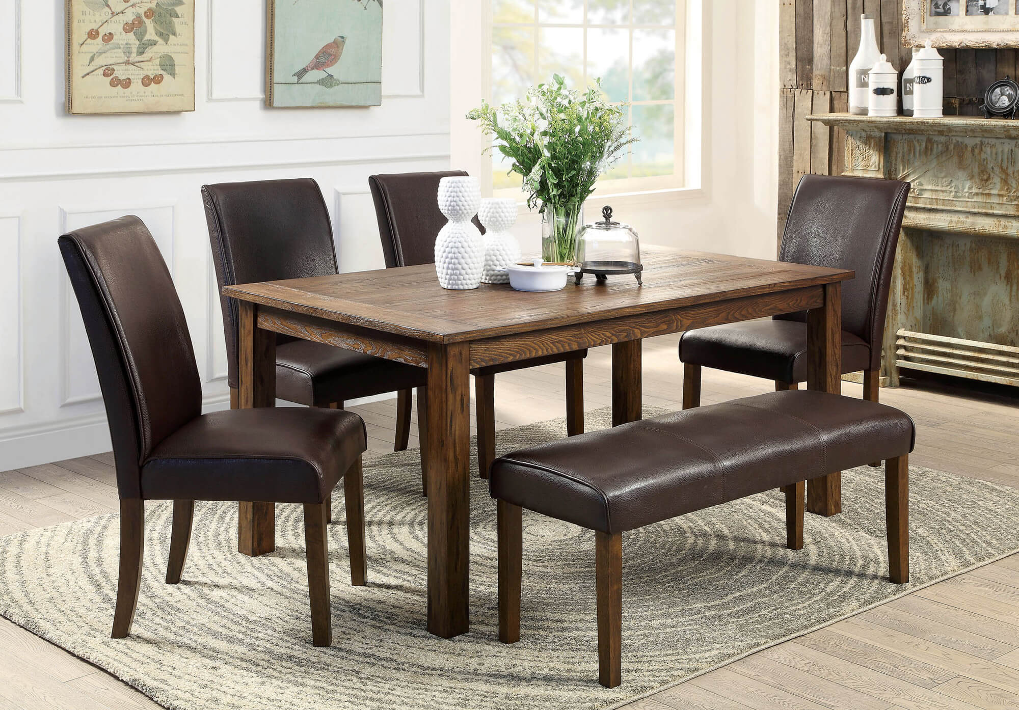 rustic rectangle dining table with fully cushioned chairs and bench