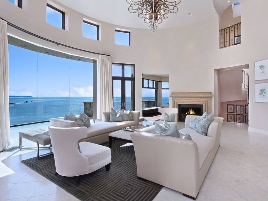 40 living rooms with area rugs for warmth richness - Expansive large glass windows living room pros cons ...