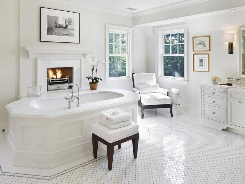 Sparkling White Micro Tile Design On The Floor Unifies This Bold Bathroom Centered Around