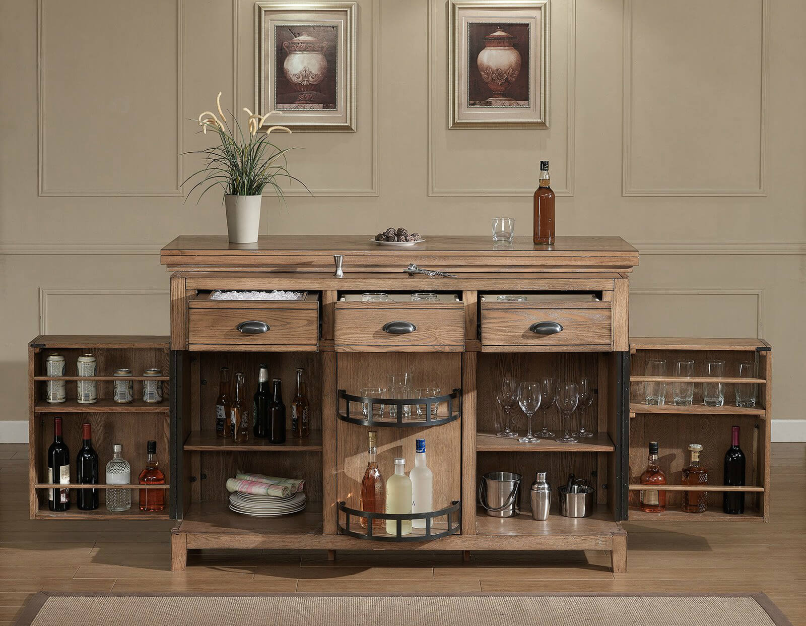 As you can see, the amount of storage in this rustic home bar cabinet