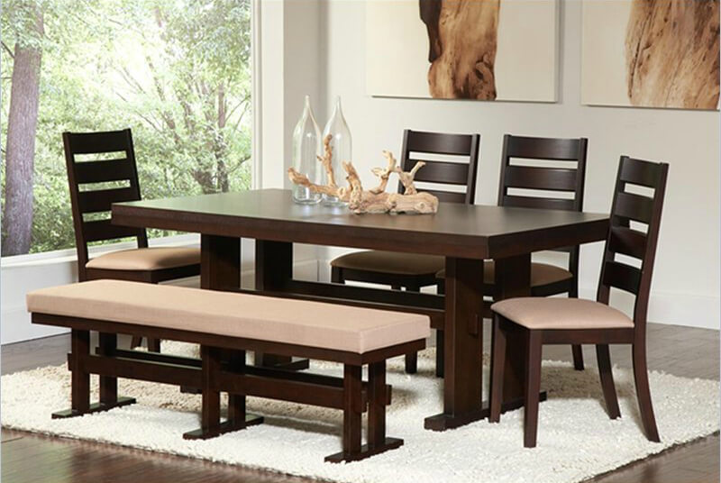 wood dining room table with chairs and cushioned bench