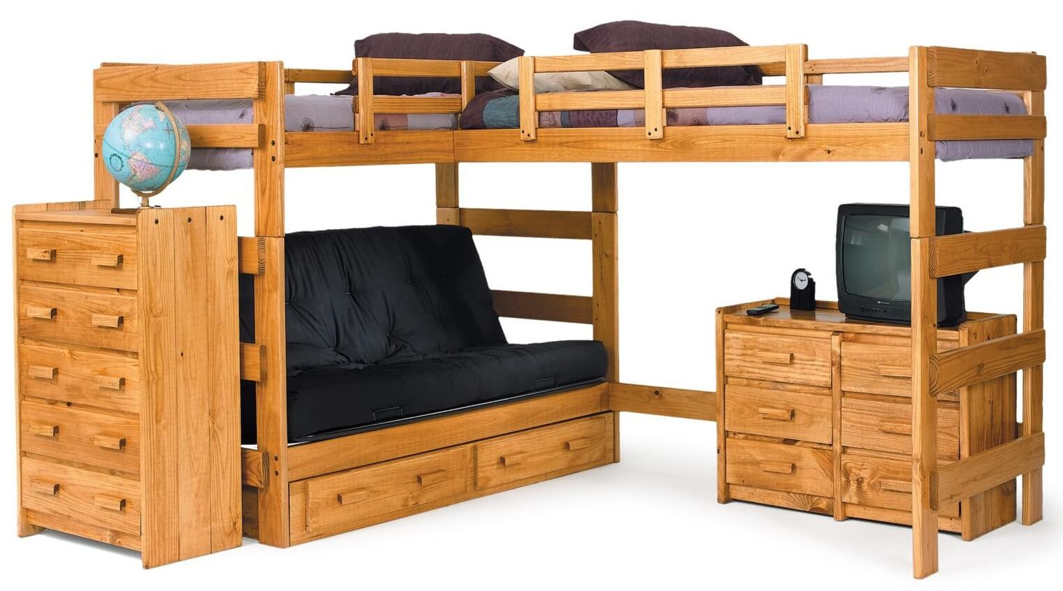 Wood bunk beds with desk - Here S An Example Of An Adjacent L Shape Bunk Design Where The Both Beds Are