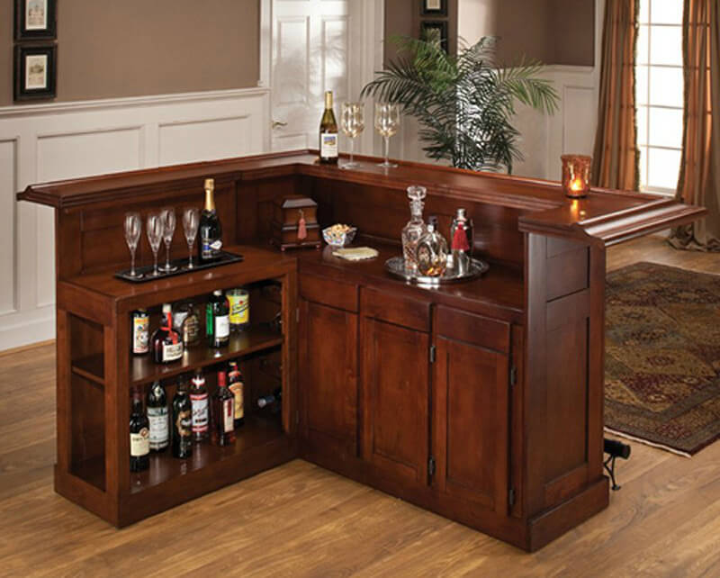 this cherry l shaped home bar is fairly large for a bar cabinet you