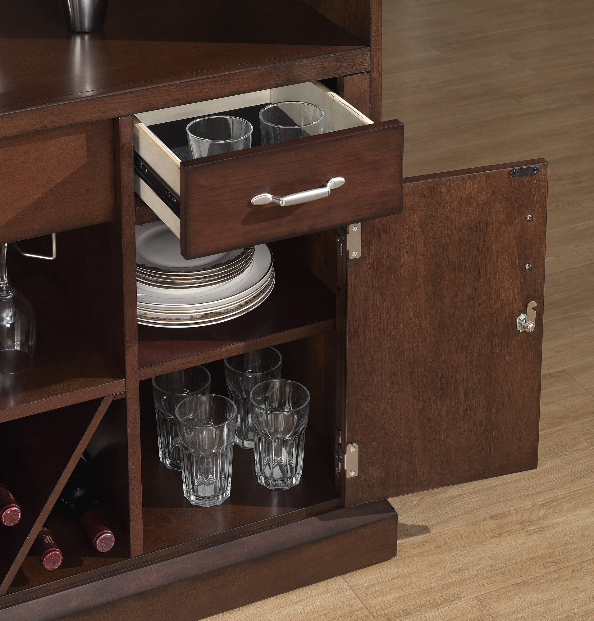 Behind The Bar View  This Is A Beautiful Home Bar Unit With Sturdy Foot  Railing