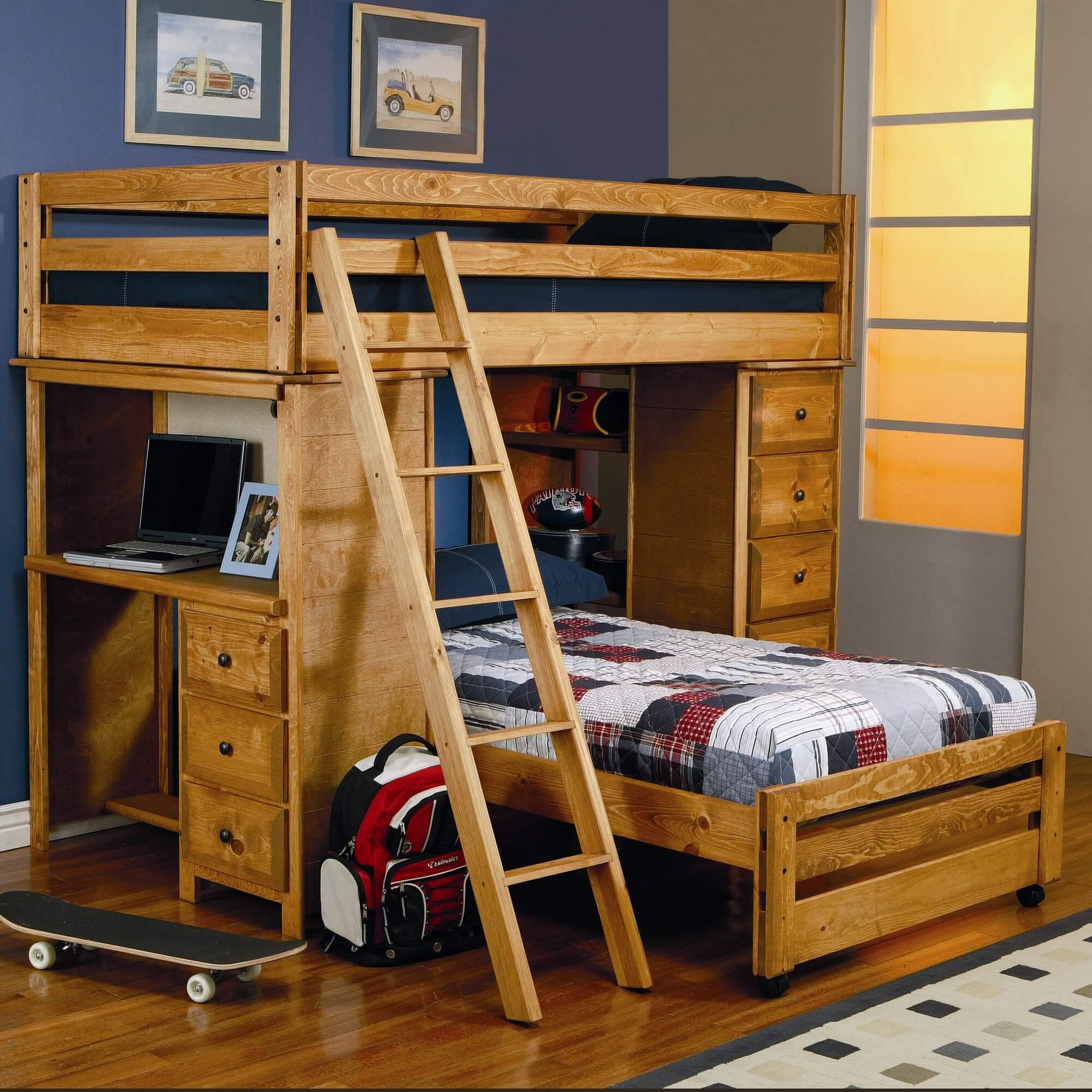 Wood bunk beds with desk - This Solid Pine L Shaped Bunk With A Honey Finish Is A Twin Over Twin