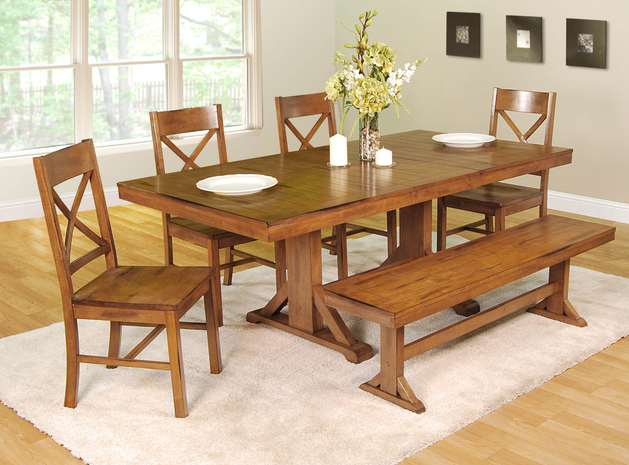Antique wooden dining table - This Dining Room Set With Bench Is Going For The Antique Look With An