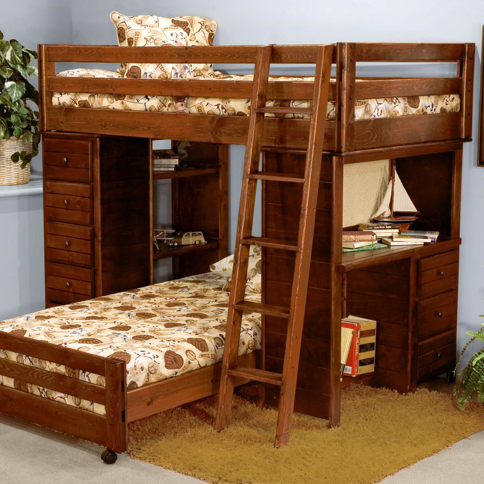 Wood bunk beds with desk - This Solid Ponderosa Pine L Shaped Bunk Bed Offers Custom Configuration Because The Lower Bed