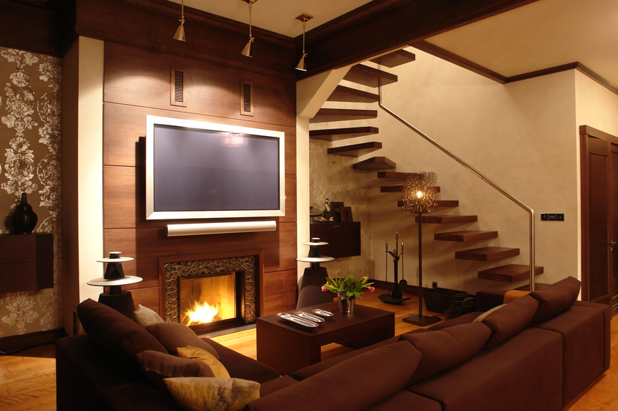 modern styled living room sets dark brown sectional and wood coffee table before fireplace with sleek