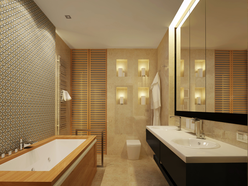 Wall Texture Designs For Bathroom : Master bathroom designs with beautiful woodwork