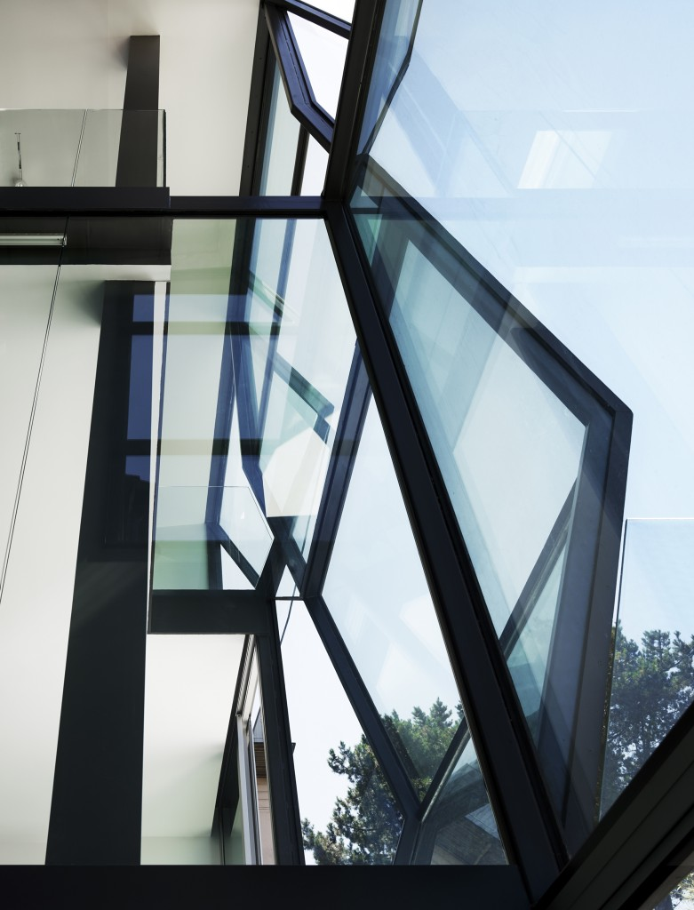 Here's the upper prism structure of the external glass wall. The angular design refracts light in surprising ways throughout the space.
