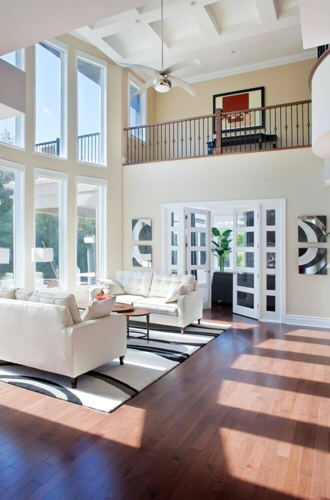 54 living rooms with soaring 2 story cathedral ceilings for Two story living room house plans