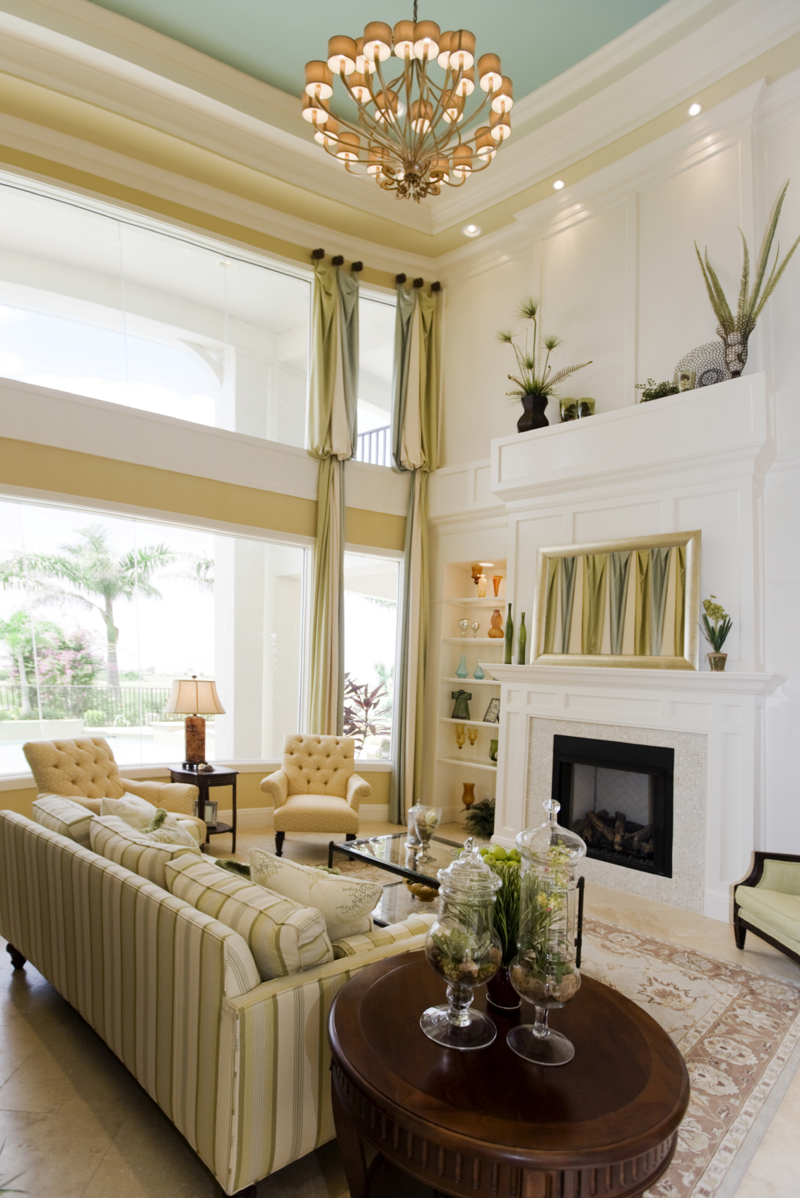 mantel decorating ideas with high ceilings - 54 Living Rooms with Soaring 2 Story & Cathedral Ceilings