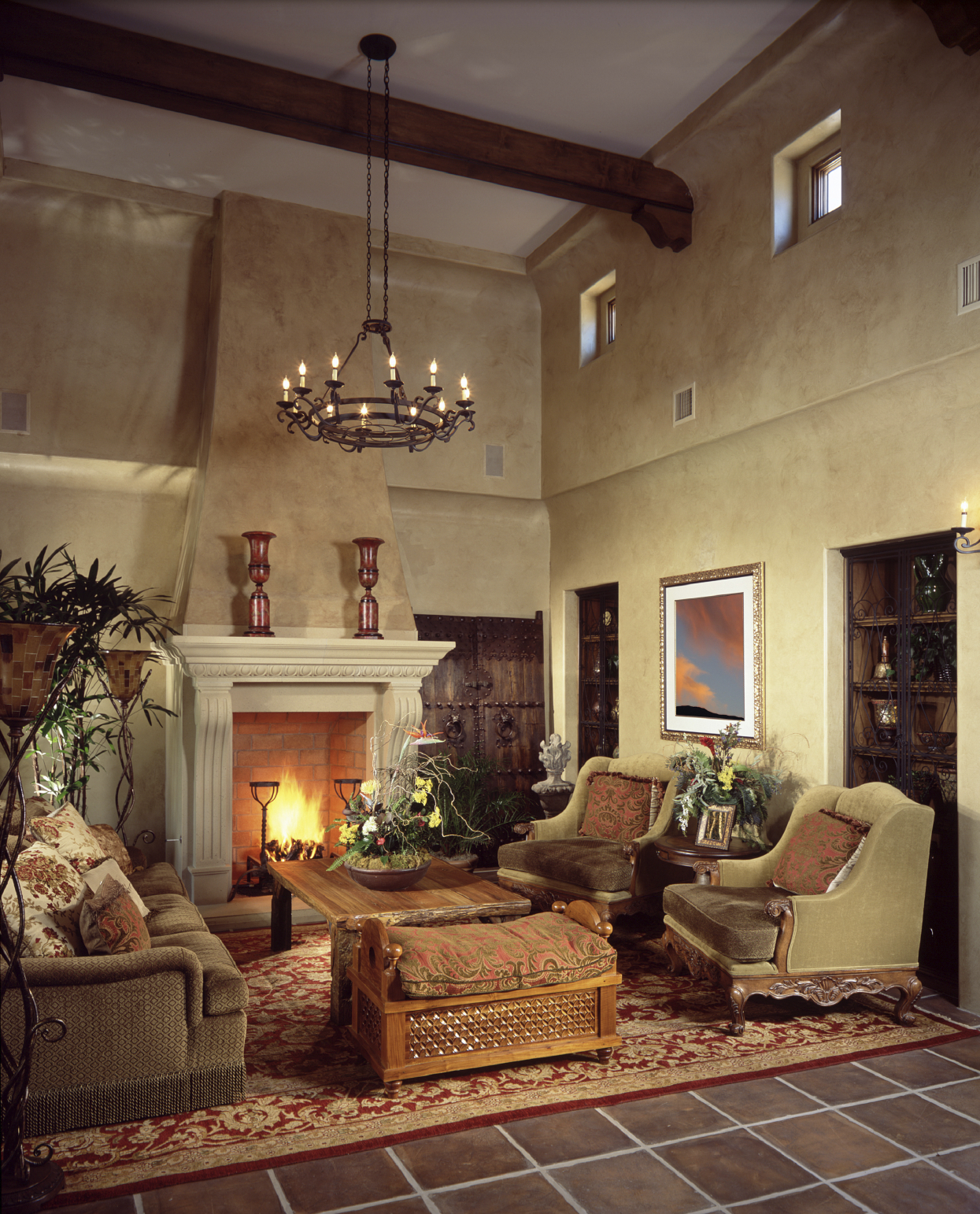 Living Room Fireplace Ideas : 54 Living Rooms with Soaring 2-Story & Cathedral Ceilings
