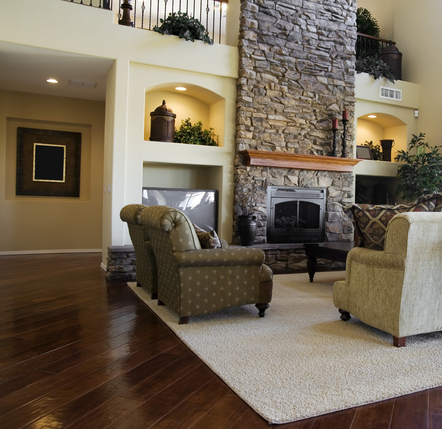 Another Luxurious Living Room Dominated By Large Stone Fireplace This
