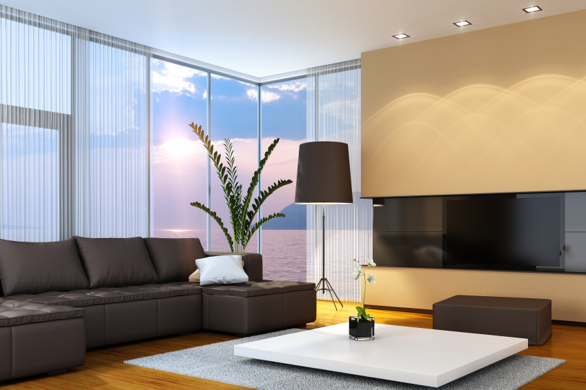 wall glass living room tables. Floor to ceiling glass panels wrap this modern living room  featuring a mocha sectional and 47 Beautiful Modern Living Room Ideas in Pictures