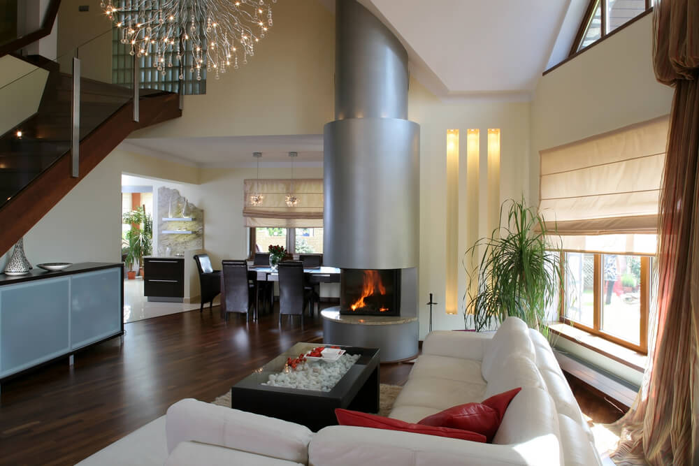 Modern Living Room With Fireplace 54 living rooms with soaring 2-story & cathedral ceilings