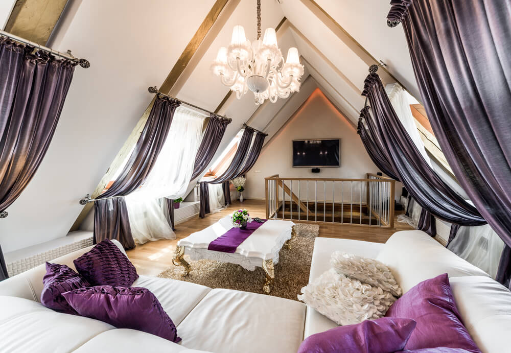 Top Floor Living Room Filled With Lavish Employment Of Purples And Whites Decorative Curtains Hang