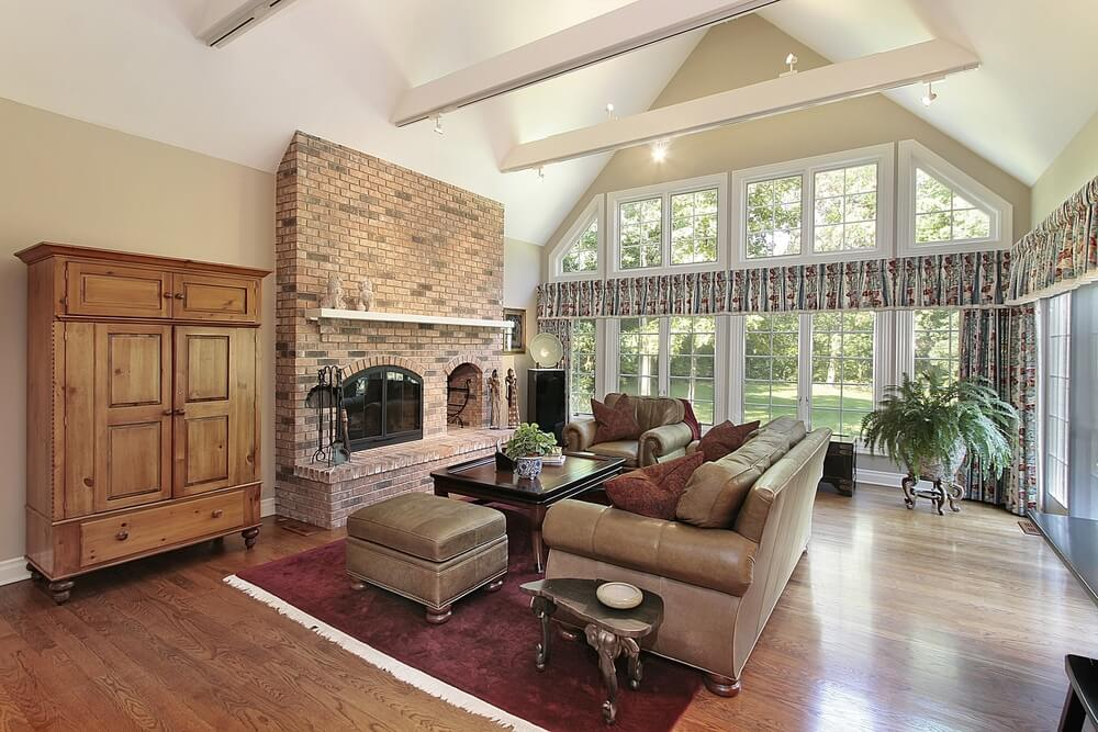 Modern Living Room With Brick Fireplace 54 living rooms with soaring 2-story & cathedral ceilings