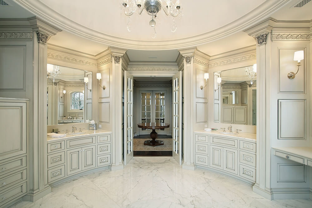 34 luxury white master bathroom ideas pictures for Custom master bathroom designs