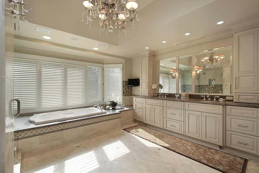 Bathroom Lighting Over Large Mirror 34 luxury white master bathroom ideas (pictures)