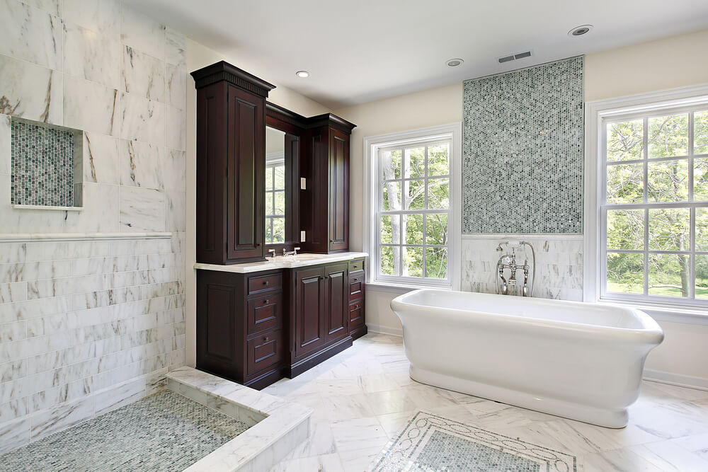 34 luxury white master bathroom ideas pictures for Marble master bathroom designs