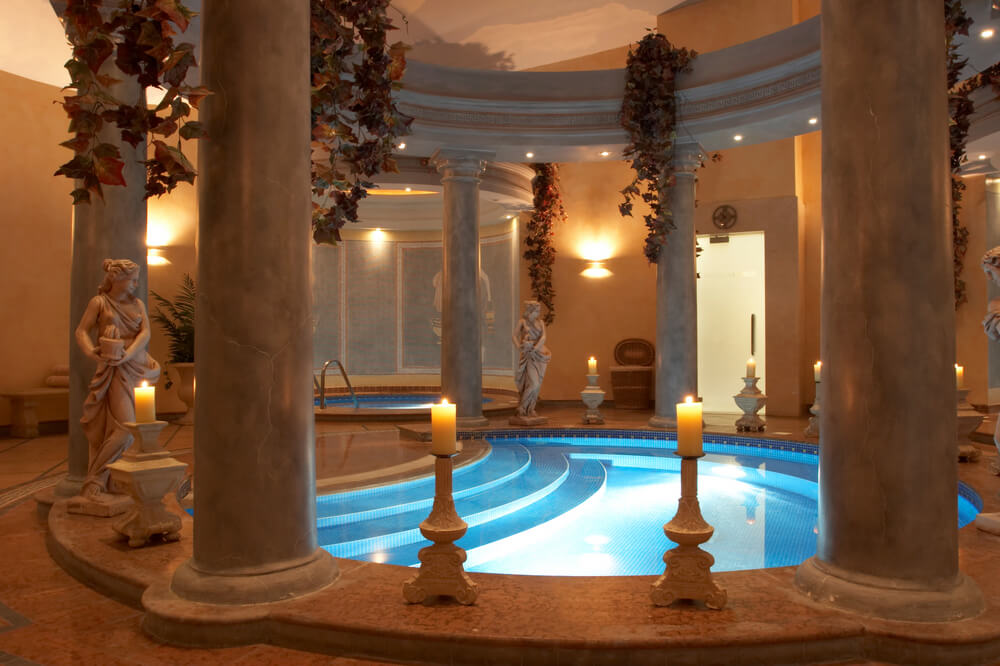 I'll end this collection of swimming pool ideas in pictures with a Roman style indoor pool and hot tub.