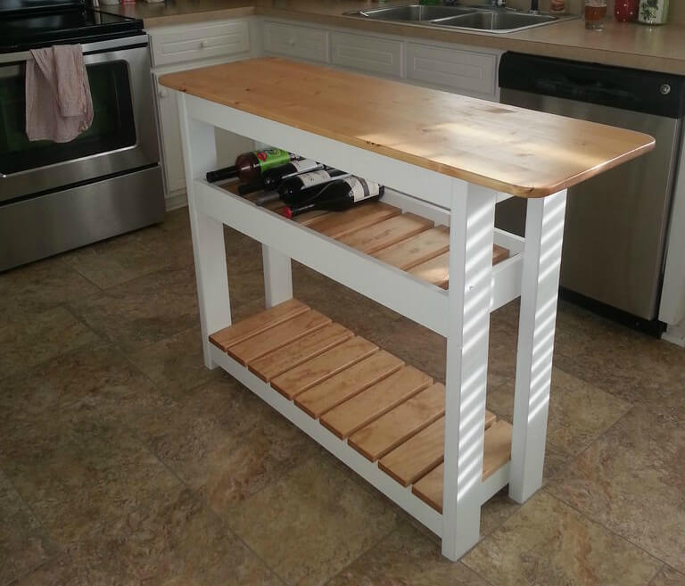 how to make a kitchen island diy kitchen island with wine rack step by step 754