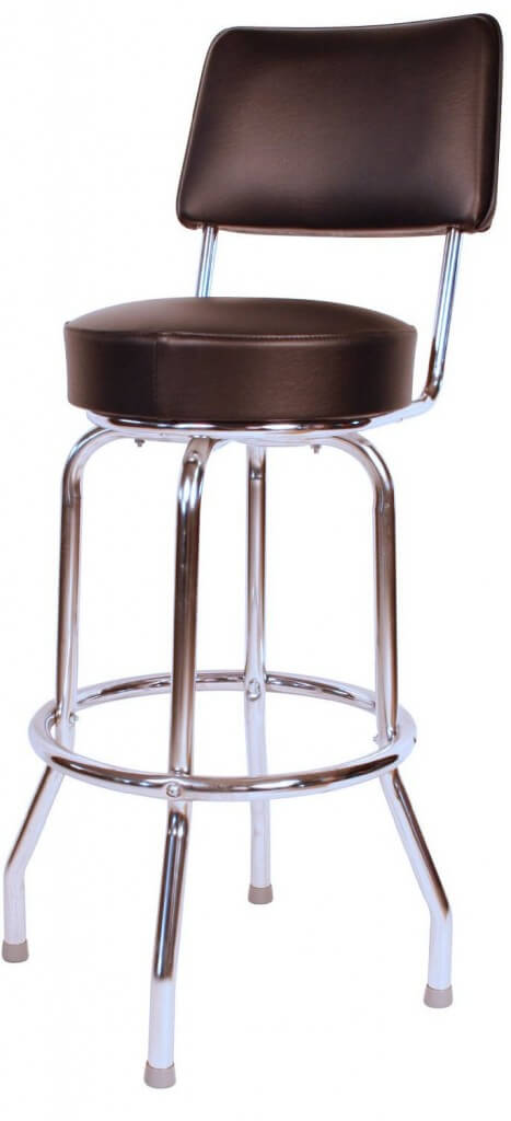 high back stool with chrome finished frame and upholstered seat and back - Metal Bar Stools With Backs