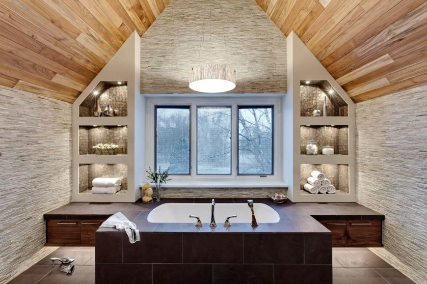 Striking, Natural Wood Arched Ceiling Hangs Over This Both Bathroom, Featuring  Sunken Tub In