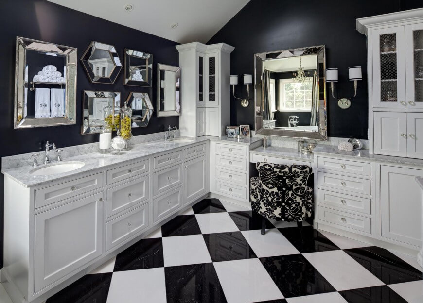 The glossy checkered floor design reflects the white cabinetry on black walls, adding a playful yet classy tone beneath the elegant appointments.