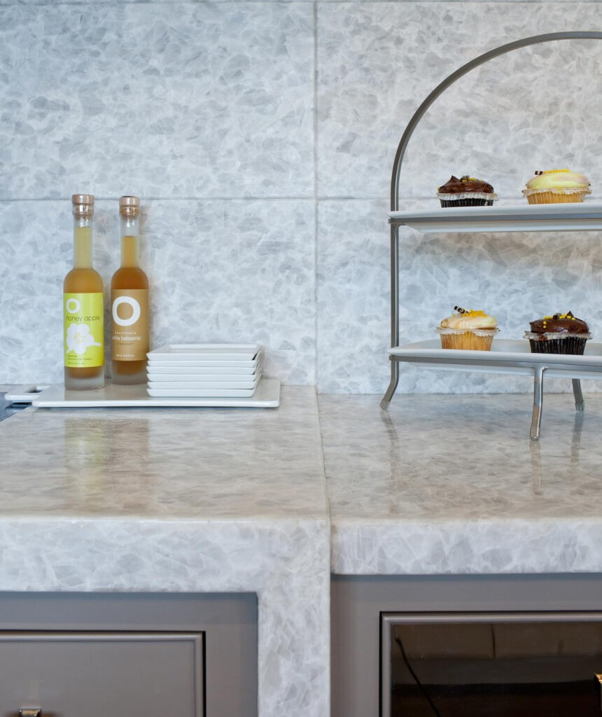 Detail view of the quartzite countertops and backsplash.