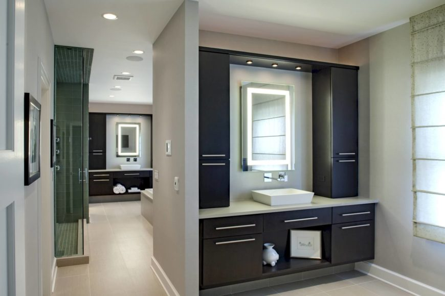 11 striking innovative master bathrooms by drury design for His and hers bathroom
