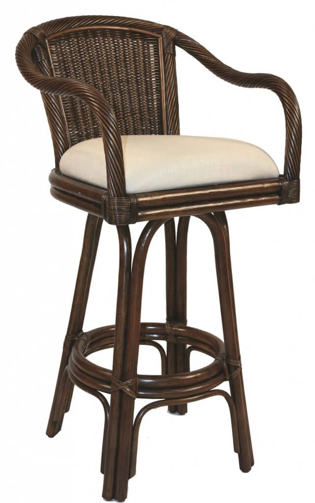 Coastal stool style with rattan back and arms
