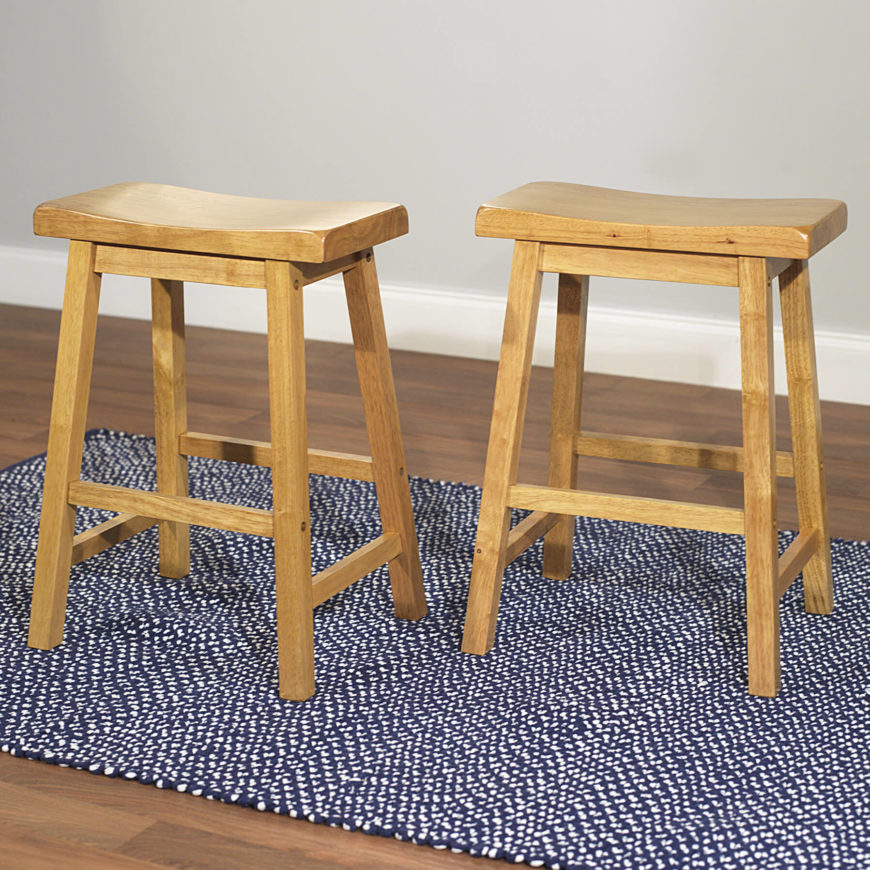 Pair of Scandinavian style wood saddle stools. : wood saddle bar stools - islam-shia.org