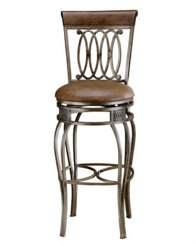 This ornate bar stool has a faux leather seat