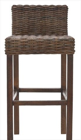 Wicker seat and back stool with wooden legs.